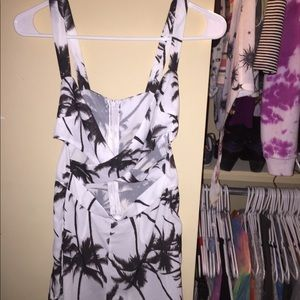 Black and white palm tree cut out romper size XS